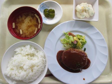 仙台 宮城県庁食堂 Aランチ(チーズインハンバーグデミソース、春キャベツ添え)