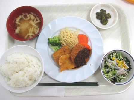 仙台 宮城県庁食堂 A定食(フライドチキン&メンチカツ)