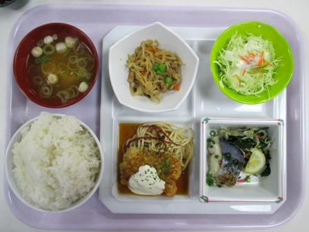 仙台 宮城県庁食堂 日替わりランチセット(サワラ塩麹焼き+チキン南蛮)