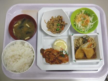 仙台 宮城県庁食堂 日替わり(イカフライとポークチャップ)